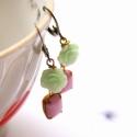 Menta rózsa - shabby chic lógós fülbevaló , Ékszer, óra, Fülbevaló, A fülbevaló a következő anyagokból készült:   * menta zöld színű műanyag rózsa * rózsaszín csiszolt ..., Meska