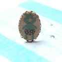 Pöttyös Bugyis Malac - textil ékszer - gyűrű, Ékszer, óra, Gyűrű, A gyűrű a következő anyagokból készült:  * bézs textilen pöttyös bugyis türkizkék malac * sárgaréz f..., Meska