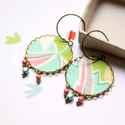 Pasztel színek  - textilékszer - fülbevaló, Ékszer, óra, Fülbevaló, A fülbevaló a következő anyagokból készült:   * pasztel rózsaszín-kék-zöld színű selyem  * rózsaszín..., Meska