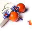Pipacs + Fa - textilékszer - fülbevaló - kék, narancs, Ékszer, óra, Fülbevaló, Ékszerkészítés, A fülbevaló a következő anyagokból készült:   * narancssárga fa golyó * kék selyem fehér pöttyökkel..., Meska