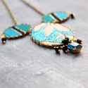 Tenger nyaklánc - design ékszer - kék, türkiz, fekete, Ékszer, óra, Nyaklánc, A nyaklánc a következő anyagokból készült:   * türkiz, felete és kék színű textilek  * fekete üveggy..., Meska