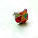 Geometrikus Cica gyűrű - Woody kollekció , Ékszer, óra, Gyűrű, A gyűrű a következő anyagokból készült:  * nyomtatott cica alakú fa geometriai mintával * ezüst szín..., Meska