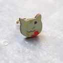 Türkiz virágos cica gyűrű - Woody kollekció , Ékszer, óra, Gyűrű, A gyűrű a következő anyagokból készült:  * nyomtatott cica alakú fa türkizkék-narancs virágos mintáv..., Meska