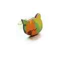 Zöld cica gyűrű - Woody kollekció , Ékszer, óra, Gyűrű, A gyűrű a következő anyagokból készült:  * nyomtatott cica alakú fa zöld-sárga mintával * ezüst szín..., Meska