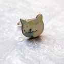 Kék cica gyűrű - Woody kollekció , Ékszer, óra, Gyűrű, A gyűrű a következő anyagokból készült:  * nyomtatott cica alakú fa  * ezüst színű, sárgaréz állítha..., Meska