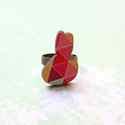 Geometrikus Nyuszi gyűrű - Woody kollekció , Ékszer, óra, Gyűrű, A gyűrű a következő anyagokból készült:  * nyomtatott nyuszi alakú fa geometriai mintával * ezüst sz..., Meska