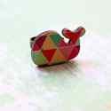 Geometrikus Bálna gyűrű - Woody kollekció , Ékszer, óra, Gyűrű, A gyűrű a következő anyagokból készült:  * nyomtatott bálna alakú fa geometriai mintával * ezüst szí..., Meska