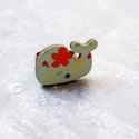Türkiz virágos bálna gyűrű - Woody kollekció , Ékszer, óra, Gyűrű, A gyűrű a következő anyagokból készült:  * nyomtatott bálna alakú fa türkizkék-narancs virágos mintá..., Meska
