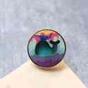 Városi Vízköpő Bálna - nagy gyűrű - Woody kollekció , Ékszer, óra, Gyűrű, A gyűrű a következő anyagokból készült:  * nyomtatott bálnás fa városképet ábrázoló mintával * fonal..., Meska