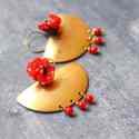 Romantikus törzsi nagy fülbevaló - piros és bronz, Ékszer, óra, Fülbevaló, A fülbevaló a következő anyagokból készült:   * piros pöttyös selyem * nagy sárgaréz félkör * piros ..., Meska