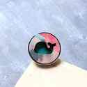 Rózsaszín Vízköpő Bálna - nagy gyűrű - Woody kollekció , Ékszer, óra, Gyűrű, A gyűrű a következő anyagokból készült:  * nyomtatott bálnás fa rózsaszín mintával * fonal * ezüst s..., Meska