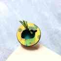 Zöldes Vízköpő Bálna - nagy gyűrű - Woody kollekció , Ékszer, óra, Gyűrű, A gyűrű a következő anyagokból készült:  * nyomtatott bálnás fa zöldes mintával * fonal * ezüst szín..., Meska
