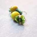 Pipacs + Fa - textilékszer - fülbevaló - zöld, türkiz, Ékszer, óra, Fülbevaló, A fülbevaló a következő anyagokból készült:   * almazöld fa golyó * zöldes - színes selyem  * türkiz..., Meska