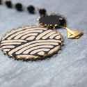 Fekete vitorlás - design ékszer - fekete, tört fehér, bronz, Ékszer, óra, Nyaklánc, A nyaklánc a következő anyagokból készült:   * fekete-tört fehér hullám mintás textil, fekete textil..., Meska