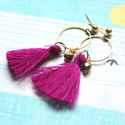 Lila Rojt - bedugós fülbevaló, Ékszer, óra, Fülbevaló, A fülbevaló a következő anyagokból készült:   * lila rojt * sárgaréz karika * bronz üveggyöngy  * sá..., Meska