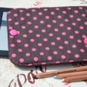 E-book tartó barna-pink pöttyös, Táska, Pénztárca, tok, tárca, , Meska