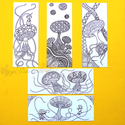 Gombák színezős könyvjelző szett, Naptár, képeslap, album, Képzőművészet, Könyvjelző, Grafika, Fotó, grafika, rajz, illusztráció, Kézzel rajzolt, majd digitalizált felnőtt színezős könyvjelző szett (5 db-os). 7x18 cm méretűek, va..., Meska