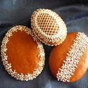 Húsvéti tojások, Dekoráció, Dísz, Húsvéti apróságok, Mézeskalácssütés, 3 darabos, írókás (a térbeli nagy tojás  kb. 7x10 cm-es, a másik kettő kb. 9x13 cm-es) húsvéti csom..., Meska