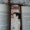 Fa könyvjelző -Klimt, Mindenmás, Decoupage, szalvétatechnika, Fa könyvjelző Klimt, Anya gyermekével c. képének lenyomatával díszítve. Ajándéknak is tökélesen meg..., Meska