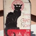 Chat Noir, Otthon, lakberendezés, Tárolóeszköz, Doboz, Decoupage, szalvétatechnika, Kis könyvdoboz, elején a fekete macskával,  hátulján a párizsi fekete macska kávézóval.  A doboz mi..., Meska