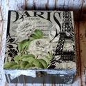 Rózsa, Párizs,szerelem..., Otthon, lakberendezés, Tárolóeszköz, Doboz, Decoupage, szalvétatechnika, Párizs szerelmeseinek készült ez a romantikus dobozka.  Szalvétával, festékkel, csipkével és minták..., Meska