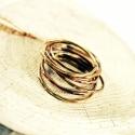 vékony, sárgaréz-vörösréz  rakásolható gyűrű, Ékszer, óra, Gyűrű, Ékszerkészítés, Fémmegmunkálás, egyszerű, forrasztott, kalapált, rusztikus felületű, egymásra halmozható gyűrűk, vörösrézből és sárg..., Meska