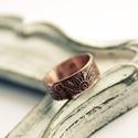 vörösréz mehndi karikagyűrű , Ékszer, óra, Esküvő, Gyűrű, Ékszerkészítés, Fémmegmunkálás, saját készítésű mehndi mintásra maratott vörösréz lemezből készült karikagyűrű    17mm belső átmérő..., Meska