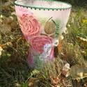 Rózsás hangulatban váza, Otthon, lakberendezés, Kaspó, virágtartó, váza, korsó, cserép, Decoupage, szalvétatechnika, A Rózsa szerelmeseinek ajánlom ezt az egyedi kézzel készített vázát.Csodás dísze lehet a lakásnak v..., Meska