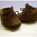 """Horgolt baba cipő """"MaciLaci"""", Baba-mama-gyerek, Ruha, divat, cipő, Cipő, papucs, Gyerekruha, Horgolás, Picuri kis cipő készült a legkisebb babáknak. Megköthető,így nem esik le a baba lábáról:)   Anyag: ..., Meska"""