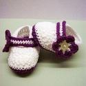 """Horgolt baba cipő """"LilaAkác"""", Baba-mama-gyerek, Ruha, divat, cipő, Cipő, papucs, Gyerekruha, Horgolás, Tündéri baba cipő készült. Szívesen elkészítem a babádnak,csak a talpacskája hosszúságát kell nekem..., Meska"""