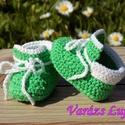 """Horgolt baba cipő """"Zöldike"""", Baba-mama-gyerek, Ruha, divat, cipő, Cipő, papucs, Gyerekruha, Horgolás, Ez a babacipő megköthető,így nem esik le a baba lábáról.Kézzel készült horgolással.  Szívesen elkés..., Meska"""