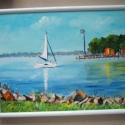 Balaton, Dekoráció, Képzőművészet , Kép, Festészet, Fotó, grafika, rajz, illusztráció, Balatoni fotó alapján készült. Akrillal festve vászonra .IKEA-s fémkerettel együtt 24,8 x 18,8 cm, Meska