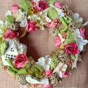 Ajtódísz, Dekoráció, Ünnepi dekoráció, Húsvéti apróságok, Virágkötés, Tavaszi hangulató ajtó kopogtató,koszorú Termésekből selyemvirágokból dekorációs anyagokból készült..., Meska