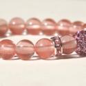 Rózsaszín karkötő - Pinky bracelet, Ékszer, óra, Karkötő, Ékszerkészítés, Rózsaszín  A karkötőt a rózsaszín, átlátszó cherry jádéból készítettem, majd halvány lila rondellekk..., Meska
