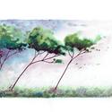 vihar, Képzőművészet, Otthon, lakberendezés, Festmény, Akvarell, Festészet, Színes nyomat. Maga a festett rész kb. 20*12-13 cm. Teljes mérete A4-es papír, magas minőségű fotóp..., Meska