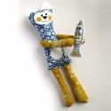 Cica hallal - játék, Baba-mama-gyerek, Játék, Varrás, Baba-és bábkészítés, Cica játék figura pamut anyagokból varrva, mosolygós arcocskával,  halacskával a kezében.  30 cm ma..., Meska