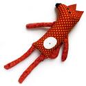 Róka játék, Baba-mama-gyerek, Játék, Varrás, Baba-és bábkészítés, Róka játék mintás pamut anyagokból varrva, filc fülekkel és pocakkal. 30cm magas 100% Handmade, Meska