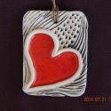 Barna-piros szíves nyaklánc, Ékszer, óra, Nyaklánc, Kerámia, Barna-piros szíves nyaklánc, mérete: kb 4x6 cm., Meska