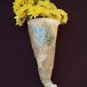 Őszies hatású kerámia kaspó, Otthon, lakberendezés, Kaspó, virágtartó, váza, korsó, cserép, Kerámia, Kerámia kaspó, kb 25 cm magas, Meska