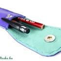 lila tolltartó, Táska, Pénztárca, tok, tárca, Csodaszép színes, valódi bőrből készült ez a kézzel varrott tolltartó. Belepakolhatod a táskád alján..., Meska