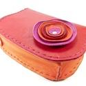 Poppys íves bőrpénztárca, Táska, Pénztárca, tok, tárca, Vidám, gyönyörű színekből készült íves nőies pénztárca. Piros, narancs és pink játéka. Nagyon finom,..., Meska