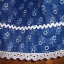 Kékfestő szoknya, Ruha, divat, cipő, Gyerekruha, Gyerek (4-10 év), Varrás, Királykék-fehér kékfestő anyagból varrtam ezt a kis szoknyát. Viselhető néptánchoz vagy bármilyen a..., Meska