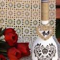 Népi motívummal díszített üveg, Dekoráció, Otthon, lakberendezés, Kaspó, virágtartó, váza, korsó, cserép, Dísz, Festészet, Újrahasznosított alapanyagból készült termékek, Népi motívummal díszített,  kézzel festett, borosüvegből készített dekoráció.    , Meska