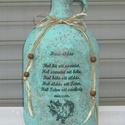 """Házi áldás felirattal készített   díszüveg, Dekoráció, Otthon, lakberendezés, Kaspó, virágtartó, váza, korsó, cserép, Dísz, Festett tárgyak, """"Házi áldás""""  felirattal  transzfertechnikával készített díszüveg. Magassága: 27 cm Szélessége: 13 ..., Meska"""
