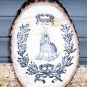 Nyuszis húsvéti dekoráció , Dekoráció, Otthon, lakberendezés, Falikép, Kép, Festészet, Famegmunkálás, Akrilfestékkel  és transzfertechnikával  készült dekoráció. A képet, szöveget kézi technikával a fá..., Meska