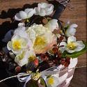Tavaszi asztaldísz, Dekoráció, Otthon, lakberendezés, Dísz, Kaspó, virágtartó, váza, korsó, cserép, Festészet, Virágkötés, Hangulatos barackfavirágzós romantikus hangulatú asztaldíszt készítettem, melynek kaspóját magam fe..., Meska