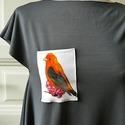 Summer Bird - női felső, Ruha, divat, cipő, Női ruha, Felsőrész, póló, Varrás, Tökéletes választás a szép időben ez a vidám, madárkás felső. Lágy esésű pamut anyagból készült, sz..., Meska