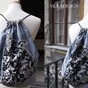 My wonder bag - hátizsák, Táska, Hátizsák, Varrás, Különleges virágos gyapjúszövettel és flitterrel díszített hátizsák ezüst színű taftból, fekete pán..., Meska