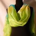 """""""Zöld egy csipet türkizzel"""" EXXXTRA NAGY selyemsál, Ruha, divat, cipő, Női ruha, Selyemfestés, Ezen a sálon, sárga, zöld és tiszta türkizkék fut keresztbe sávokban. Nagyon ragyogó és élénk színe..., Meska"""