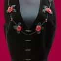 Ékszermellény, Ruha, divat, cipő, Női ruha, Varrás, Gyöngyfűzés, Női ékszermellény 40-42-es méretben. Egyedi tervezés-kivitelezés. Fekete pamutbársony, elején virág..., Meska